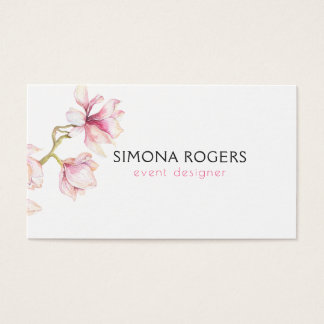 Pink Magnolia Watercolors Business Card