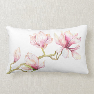 Pink Magnolia Watercolors Illustration Lumbar Pillow