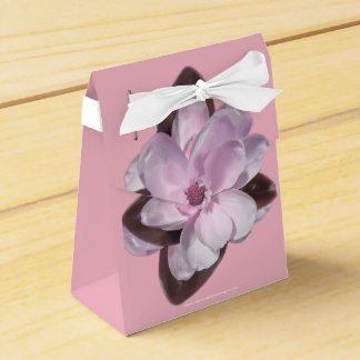 Pink Magnolia with White Ribbon on Pink Favour Box