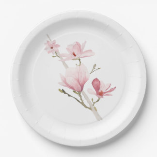 Pink Magnolias and Greenery Paper Plates