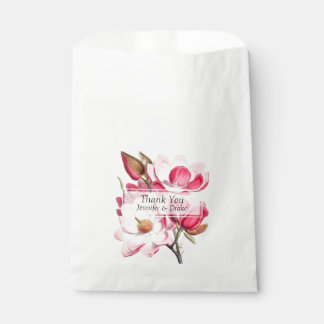 Pink Magnolias Wedding Favor Bag Favour Bags