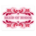 Pink Maid Of Honour Elegant Flourish Design Post Card