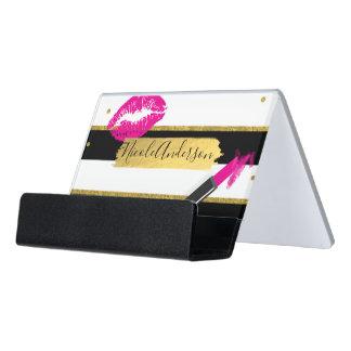 Pink Makeup Lipstick Lips Gold Foil Modern Desk Business Card Holder