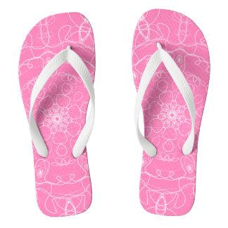 Pink mandala line Art pattern minimal simple Thongs