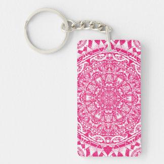Pink mandala pattern key ring