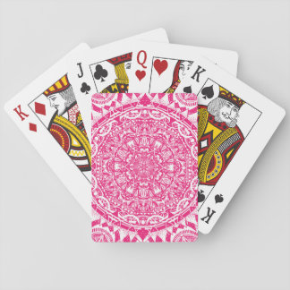 Pink mandala pattern playing cards