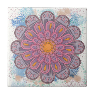 Pink Mandala with Blue Background Tile