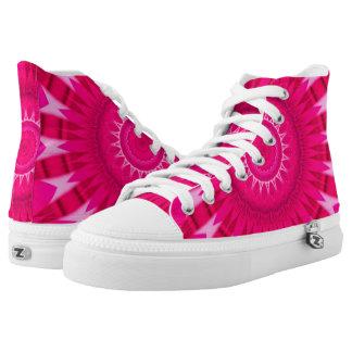 Pink Mandala Zipz High Top Shoes
