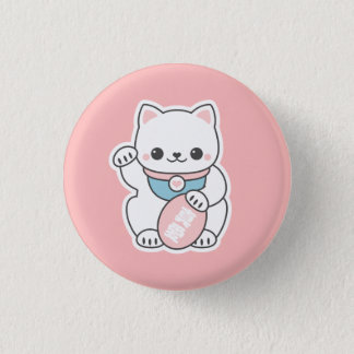 Pink Maneki Neko 3 Cm Round Badge