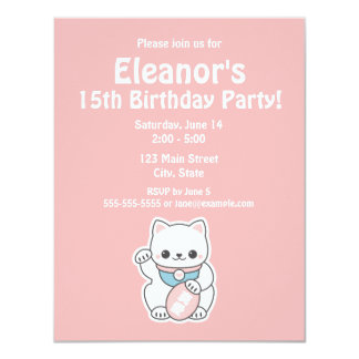 Pink Maneki Neko Birthday 11 Cm X 14 Cm Invitation Card