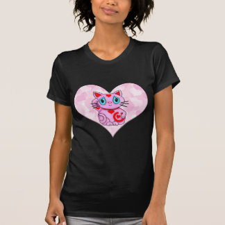 Pink Maneki Neko With Pink Heart T-shirt