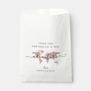 Pink Map World Adventure Travel Theme Favour Bag