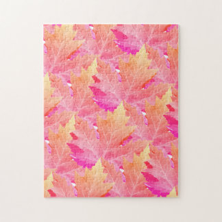 Pink Maple Leaf Pile Jigsaw Puzzle