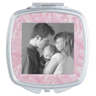 Pink Marble Custom Photo Compact Mirror