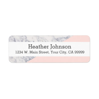Pink Marble Geometric Pattern Colorblock Girly Return Address Label