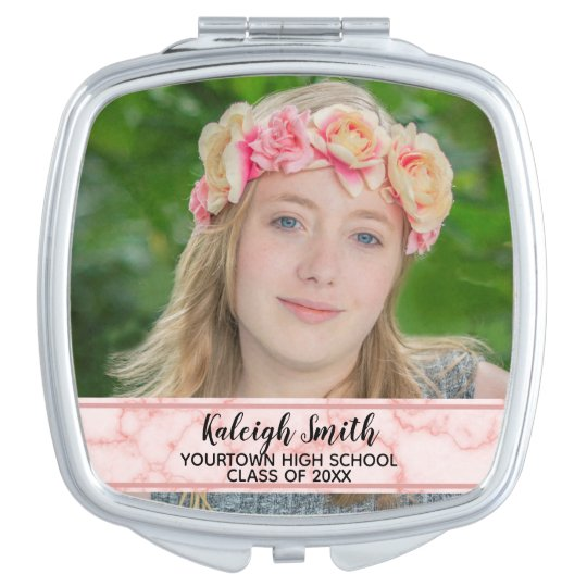 Pink Marble Graduation Year Photo Compact Mirror
