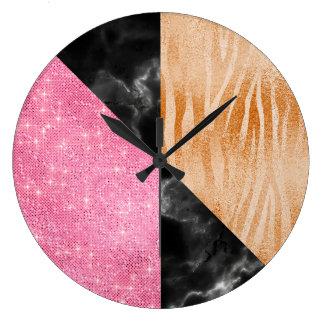 Pink Marble Gray Glitter Black Luxury Coral Zebra Large Clock
