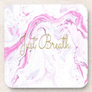 Pink Marble Just breathe design Coaster