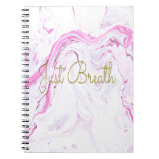 Pink Marble Just breathe design Notebook