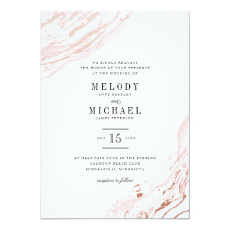 Pink Marble Modern Elegant Wedding Invitation
