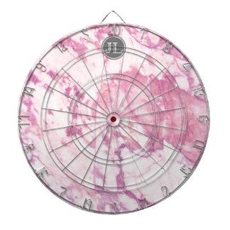 Pink Marble Monogram With Gray Circle Motif Dartboard