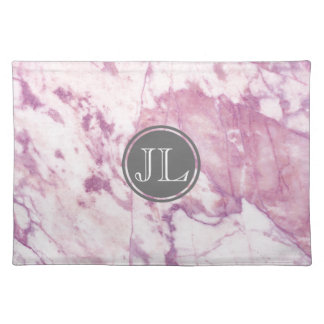 Pink Marble Monogram With Gray Circle Motif Placemat