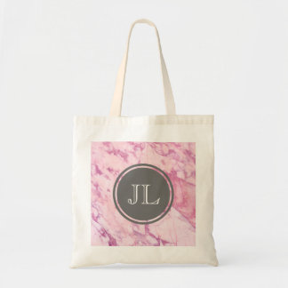 Pink Marble Monogram With Grey Circle Motif Tote Bag