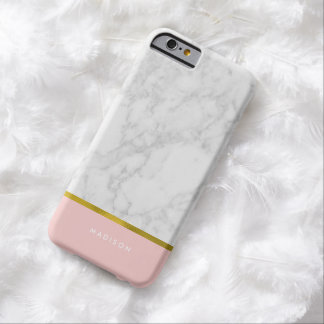 Pink Marble Pattern and Faux Gold Foil Barely There iPhone 6 Case