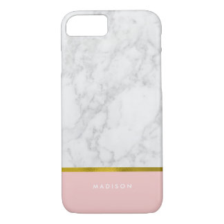Pink Marble Pattern and Faux Gold Foil iPhone 7 Case