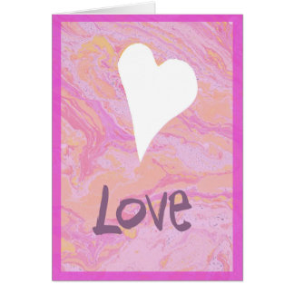 Pink marbled white heart valentine's day card