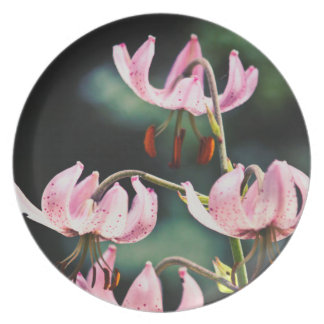 Pink Martagon Lily Flowers Plate