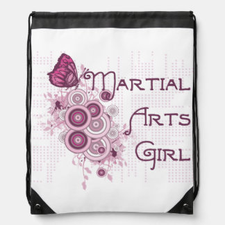 Pink Martial Arts Girl Drawstring Backpack