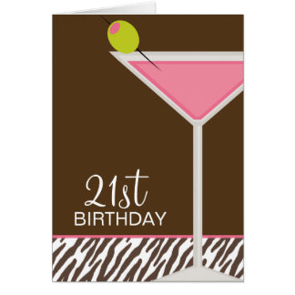 Pink Martini and Zebra Pattern Card