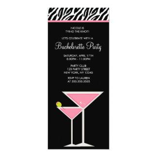 Pink Martini and Zebra Pattern 10 Cm X 24 Cm Invitation Card