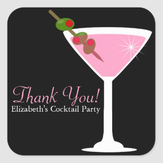 Pink Martini Cocktail Party Favor Stickers