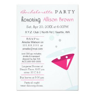 pink Martini Mod Bachelorette Party Invites