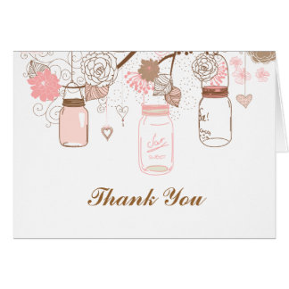 Pink Mason Jars and Love Birds Postage Note Card