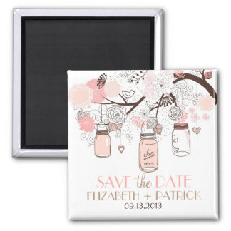 Pink Mason Jars & Love Birds Save The Date Magnet