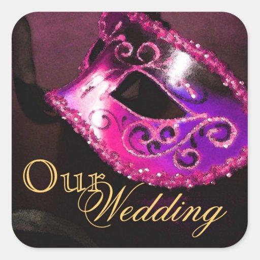 Pink Masquerade Our Wedding Sticker