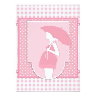 pink maternity 14 cm x 19 cm invitation card