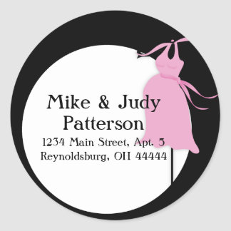 Pink Maternity Dress Round Return Address Label Round Sticker