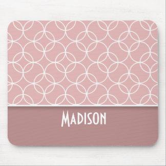 Pink; Mauve Circles Mouse Pad