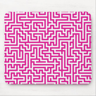 Pink maze mouse pad
