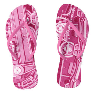 PINK MECHANICAL GEARS INDUSTRIAL MACHINERY TANK THONGS