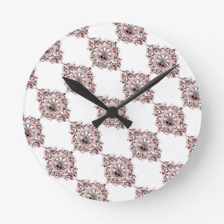 Pink Medallion Round Clock