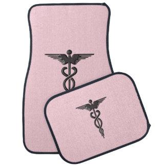 Pink Medical Caduceus Car Mat