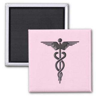 Pink Medical Caduceus Magnet