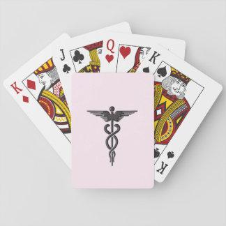 Pink Medical Caduceus Playing Cards