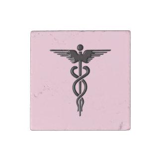 Pink Medical Caduceus Stone Magnet