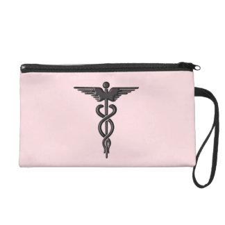 Pink Medical Caduceus Wristlet
